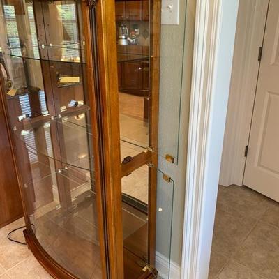 Pulaski Wood Mantel Curio Cabinet With Light