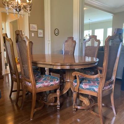 Wood Dining Table with 6 Cain Back Chairs