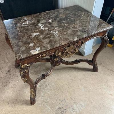 MARBLE TOP WITH GOLD LEAF INLAY SIDE TABLE 24