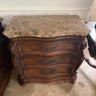 PAIR OF MARBLE TOP NIGHT STANDS 32