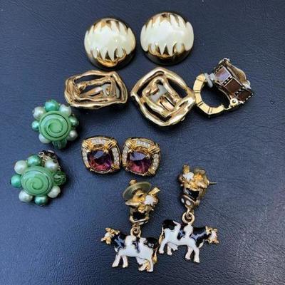 Lot of 6 Modern Sets of Designer Clip On Earrings