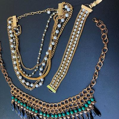 Lot of Gold Tone Fashion Necklaces and Bracelet