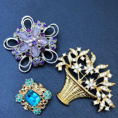 3 Contemporary Vintage Style Colorful Floral Brooches/Pins