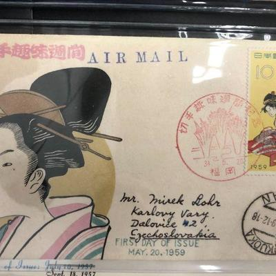 50 Vintage Japanese First Day of Issue Envelopes 1950s - 1970s
