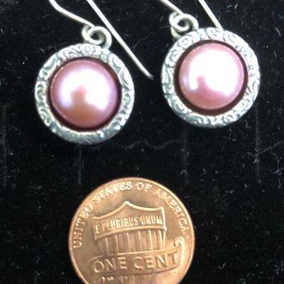 Didae Israel Sterling Silver Authentic PInk Pearl Earrings