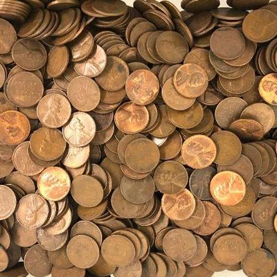 Over 1000 1940s & 1950s Unsearched Wheat Pennies From Gloucester MA Hoard