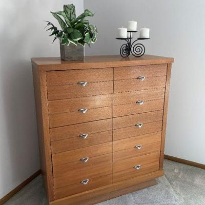 Mid-century Modern Dresser with Mirror and Chest of Drawers