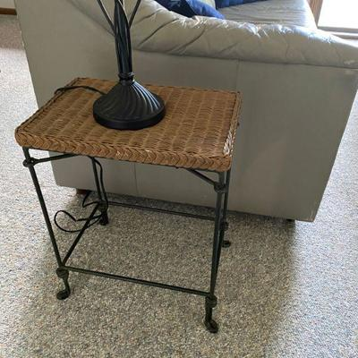 Wicker Table with Metal Legs