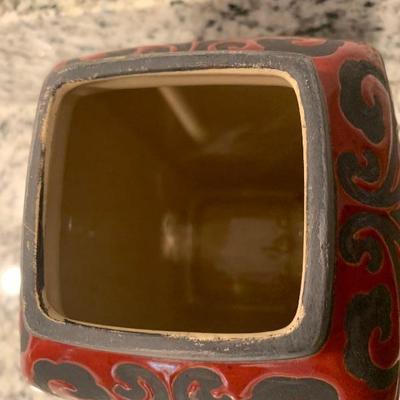 Antique oriental vase with lid
