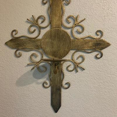 Wrought Iron Cross Crucifix Wall Sconce Candle Holder