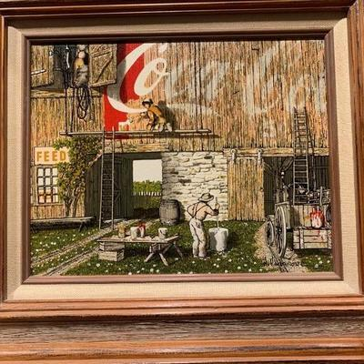 Vintage Coca Cola Barn Painter Orginal Signed H. Hargrove Frame Painting
