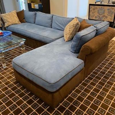 BLUE AND BROWN VANGUARD SECTIONAL SOFA 7'X12' $995