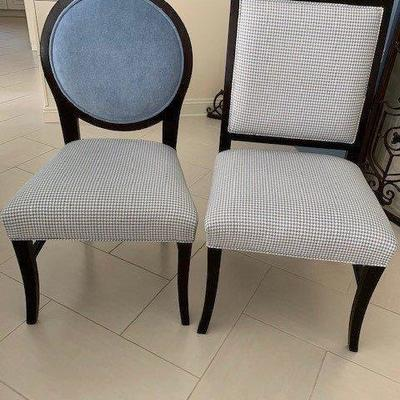 SET OF 4 DINING CHAIRS 2 SQUARE BACK AND 2 BALLOON BACK IN HOUNDS TOOTH FABRIC $425 SET OF 4