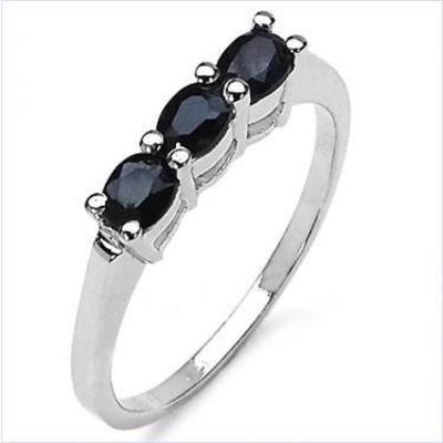 Sterling Silver Sapphire Ladies Ring    6