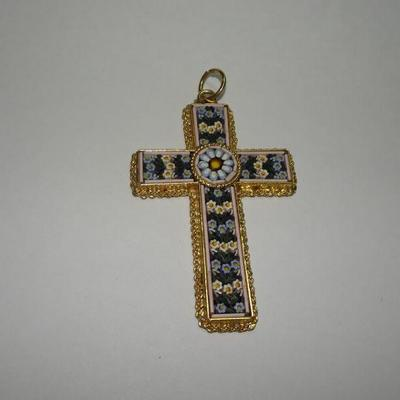 Vintage Cloisonne Mosaic Cross Pendant, Made in Italy