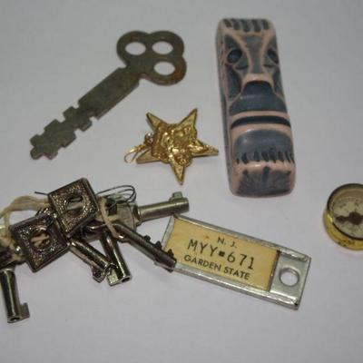Misc. Trinkets, Compass, Keys, Totem God, License Plate Key Ring Tag