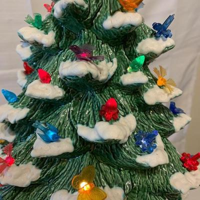 Vintage Ceramic Flocked Christmas Tree - First Tree I've seen with Multiple Ornaments