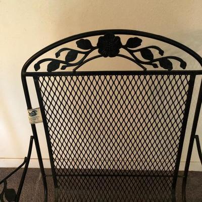 Single Black Metal Plantation Patterns Rocking Chair