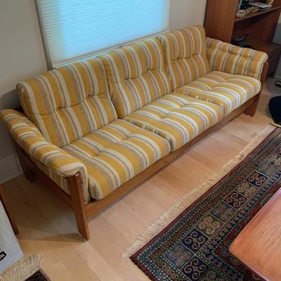 HofD Yellow, White and Blue Teak and Upholstered Sofa 78