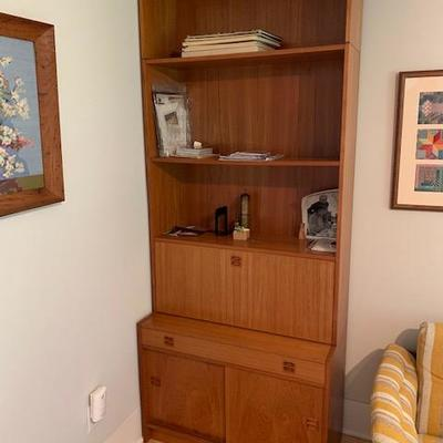 PAIR of HofD Teak Bookcases with fold down desk area and storage 35