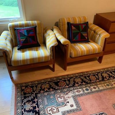 PAIR of HofD Upholstered and Teak (Matches Sofa) Arm Chairs 29