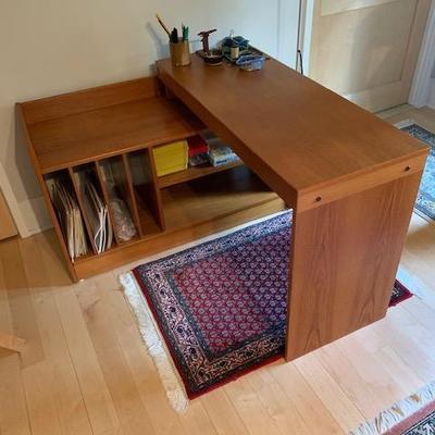 HofD 2-Piece Teak Cantilever Style Desk with File Storage Area  $750