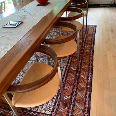 10 Walnut, Stainless & Leather Seat Chairs in the manner of Poul Kjaerholm PK-11 $3500 Each