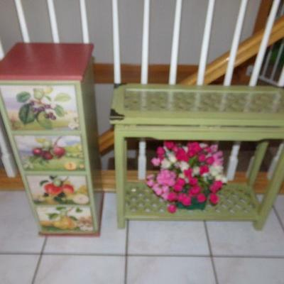 LOT 1 PAINTED CHEST & MATCHING STAND