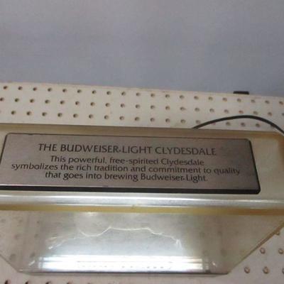 Lot 1 - Bud Light Beer Clydesdale Horse Light Bar Sign Budweiser Silver Working