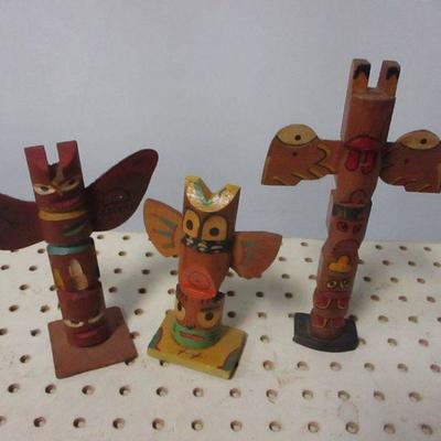 Lot 4  - Native American Wooden Totem Poles