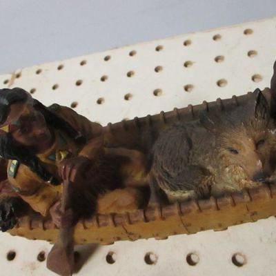 Lot 6 - Native Americans Canoeing With Dog & Eagle