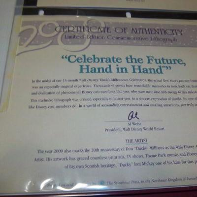 Disney.s Celebrate the future frame picture with letter of Authenticity