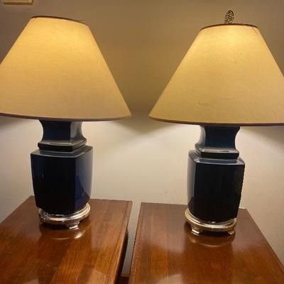 106: Pair of Navy Blue Pottery Lamps with Silver Tone Base
