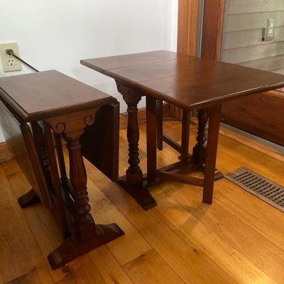 111: Pair of Small Bartley Drop Leaf Cherry Trestle Tables