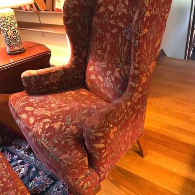 121: Burgundy Floral Wingback Chair and Ottoman