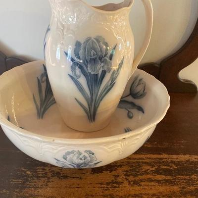 127: Antique Villeroy & Boch Pitcher and Wash Bowl
