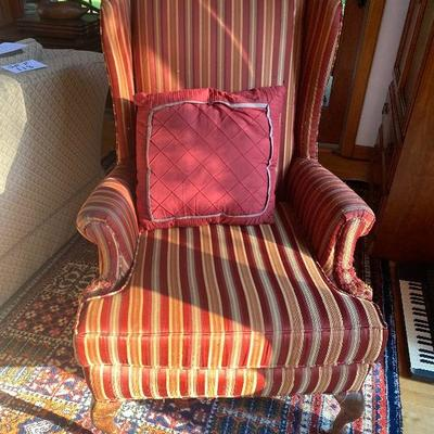 130: Vintage Upholstered Wingback Chair