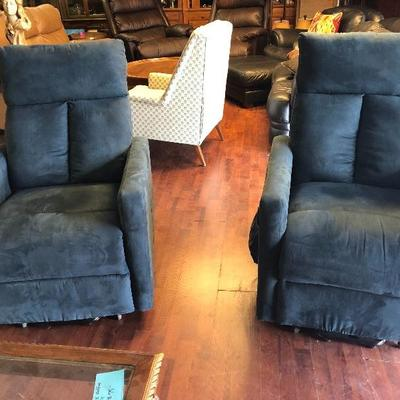 Matching Blue Suede electric recliners!
