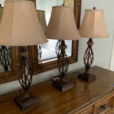 M3: Trio of Metal Table Lamps