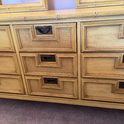 RB5: Vintage Stanley Bamboo Dresser with Two MIrrors