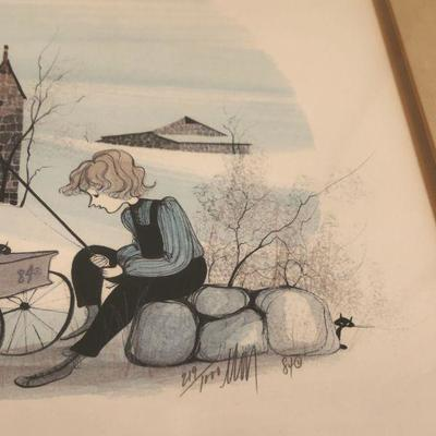 Vintage 1984 P Buckley Moss -  MIKE & JESSIE - limited ed. 219/1000 signed, framed, 21