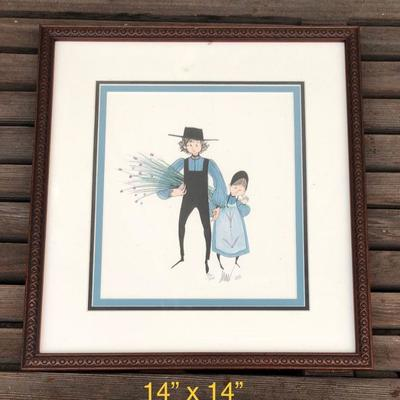 Vintage P. Buckley Moss -  Amish man and girl holding hands - limited ed., signed, framed, 450/1000 14