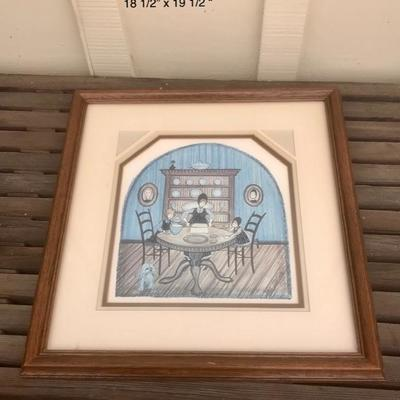 1985 vintage P. Buckley Moss limited edition 710/1000 pint, Amish or Mennonite Family Table Dining Room