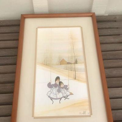 Vintage 1982 P Buckley Moss - TWO ON A SWING - limited ed., signed, framed, 18