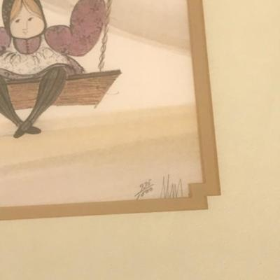 Vintage P. Buckley Moss - limited edition print 935/1000 one girl on a swing, signed, framed, 12