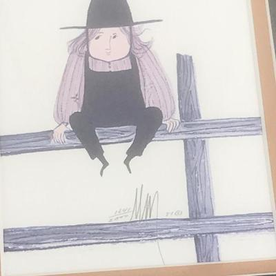 1981 P. Buckley Moss - 2 prints framed together, boy on fence & girl on fence 15 x 12 inches