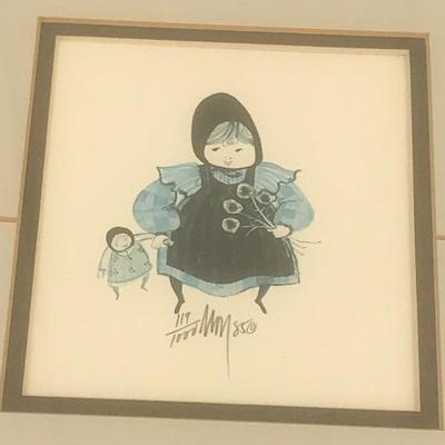 1985  P. Buckley Moss - 2 prints framed together, Amish or Mennonite boy w/ bucket & girl w/ doll