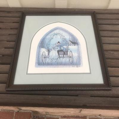 Limited Edition print by P. Buckley Moss, Amish man & woman on wagon, courtship, 16