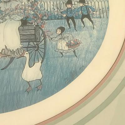 #14 framed print by P. Buckley Moss Couple on Buggy with kids and animals running around 27