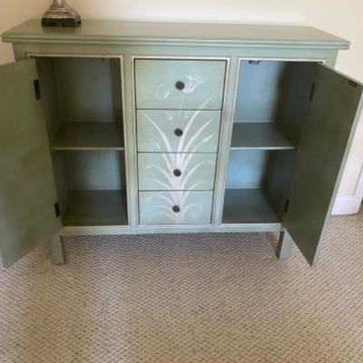 117: Floral Designed Teal Credenza  with Lamp